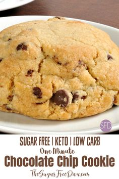 Enjoy a quick and easy low carb keto dessert or snack with this delicious recipe for One Minute Sugar Free Chocolate Chip Cookie! Sugar Free Cookies, Sugar Free Desserts, Sugar Free Recipes, Keto Cookies, Low Carb Desserts, Cookies Et Biscuits, Diabetic Desserts, Diabetic Recipes, Healthy Cookies