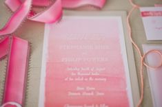 ombre watercolor wedding invitations from SouthernFriedPaper.com // photo by nbarrettphotography.com