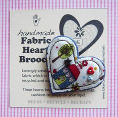 Felt and Fabric Valentine Heart Brooch by Fabric Mountain