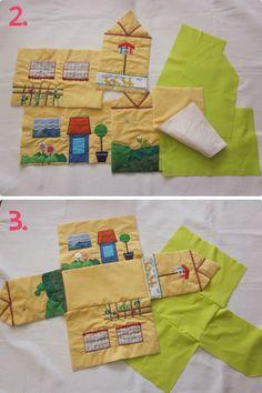 Portable Dollhouse That Also Folds Diy Gifts For Kids, Toddler Gifts, Diy For Kids, Handmade Felt, Handmade Crafts, Pochette Diy, Felt Play Mat, Play Mats, Tilda Toy
