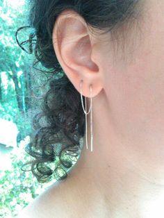"""Extra lange 8"""" Ohrring für mehrere durchbohrten Ohren, Einfädler Ohrring Sterling Silber, 20 cm lang Boho Ohrring, sehr langen Ohrring, Kette Ohrring"""