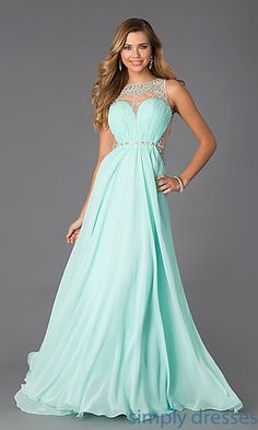Sleeveless Floor Length Dress with Illusion Bodice at SimplyDresses.com