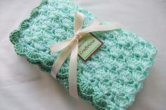 Baby Boy Blanket - Baby Girl Blanket - Crochet baby blanket Mint/Sage green Shells Stroller/Travel/Car seat blanket. $36.99, via Etsy.