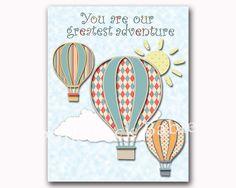 Hot air balloon nursery wall art baby boy room by PinkRockBabies