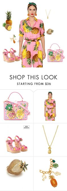 """pineapples"" by skatiemae ❤ liked on Polyvore featuring Dolce&Gabbana, Spartina 449 and Noir Jewelry"