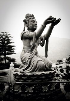 Photo of a bronze statue of a deva offering fruits to Tian Tan Buddha on Lantau Island in Hong Kong, China. Buddha Buddhism, Buddhist Art, Buddha Temple, China, Hong Kong, Buddha Canvas, Korea, Light Photography, Travel Photography