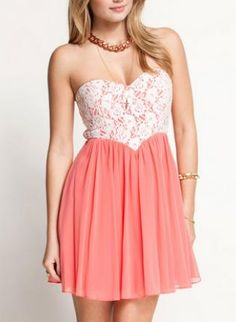 Coral Cocktail Dress - Coral Sweetheart Neckline Dress with