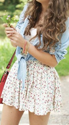A little bit of 90s never hurt anyone. Floral skirts, jean jackets/shirts. Not everyone can rock it today, but she does!