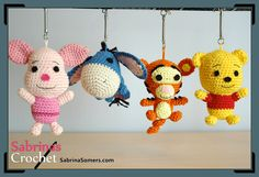 Tigger (Winnie the Pooh) - Free Crochet Pattern by Sabrina Somers in English and Dutch from Sabrina's Crochet. The other's are also free here:  http://www.sabrinasomers.com/all-my-amigurumi-patterns.php
