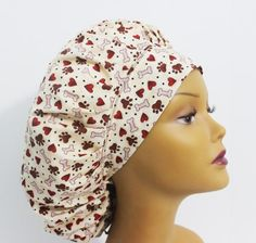 5faa27edbf8 Puppy Love Tossed Bouffant Scrub Hat with ties. by Uniscrubcaps
