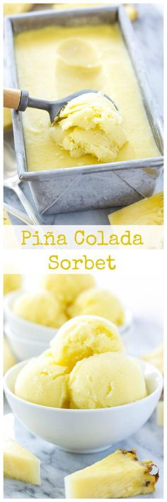 Creamy pineapple and coconut sorbet with a hint of rum is the perfect end of summer treat! Grab a double scoop of this Piña Colada Sorbet! Ice Cream Desserts, Köstliche Desserts, Frozen Desserts, Ice Cream Recipes, Frozen Treats, Summer Desserts, Dessert Recipes, Top Recipes, Shake Recipes