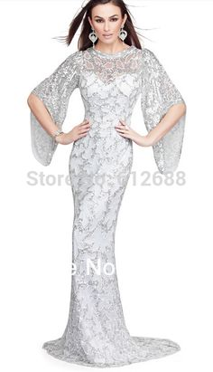 >> Click to Buy << New Evening Gown O-neck Full Crystal Sequined Beaded Vestidos Mermaid Half Sleeve Formal Celebrity Fashion Prom Dresses #Affiliate
