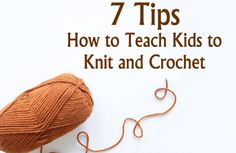 teaching kids knit + crochet = : )