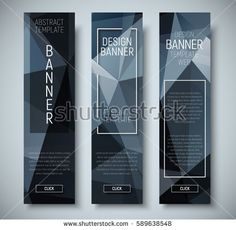 set of vertical web banners with abstract polygonal black background. Vector illustration