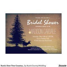Shop Rustic Deer Tree Country Bridal Shower Invitations created by RusticCountryWedding. Beautiful Wedding Invitations, Wedding Invitation Design, Bridal Shower Invitations, Garden Cafe, White Envelopes, Rsvp, Deer, Rustic, Bride