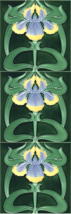 Iris repeated Moulded Art Nouveau tiles | JV - Not sure why, but I enjoy looking at anything art nouveau !