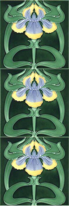 Iris repeated Moulded Art Nouveau tiles | JV
