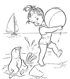 Beach Coloring Pages | Fun Beach Together Coloring Pages