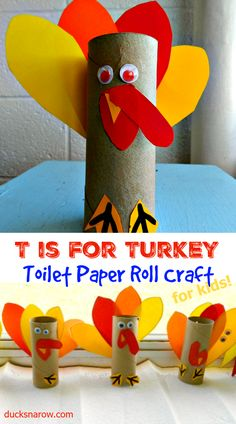 Letter T is for Turkey toilet paper roll craft for preschool and kindergarten