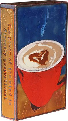 """'Strong Brew' """"The power of the mind is directly proportional to the quality of the coffee."""" -Sir James Mackintosh.  Every Spiritile has its own story wrapped around the sides to match the iconic and inspiring moments drawn from life.  Represented by Human Arts Gallery in Ojai, CA."""