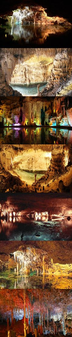 Cuevas del Drach are caves located next to city of Porto Cristo in Mallorca, Spain. It contains one of the largest underground lakes in the world. Once you reach the underground lake (Lake Martel), you can see musicians on the boat playing classical music.