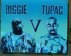 Tupac V Biggie painting on canvas stencil art Pop art America hip hop Brooklyn Los Angeles spray paints East coast West coast blues rap 2Pac