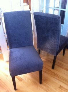 How to upholster parson's chairs tutorial.  I want to find 4 chairs like this to reupholster to match our dining room.