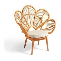 Grandin Road Daisie Rattan Chair - Natural ($369) ❤ liked on Polyvore featuring home, furniture, chairs, colored furniture, flower stem, flower chair, rattan furniture and bloom chair