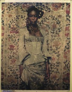 Paolo Roversi Polaroid courtesy Hamiltons Gallery London. 8 x 10 film, and a gold and silver leaf before being laminated.