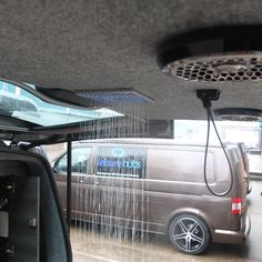 Our flagship feature! The rainforest shower built into the tailgate provides 18 minutes of hot running water; the perfect solution to cleaning yourselves, pets, equipment and bikes etc. T4 Camper, Kombi Motorhome, Sprinter Camper, Mini Camper, Transit Camper, Camper Parts, Mercedes Sprinter, Sprinter Van Conversion, Camper Conversion