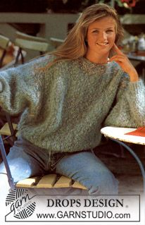 Ravelry: Jumper with wide sleeves pattern by DROPS design Beginner Knitting Patterns, Sweater Knitting Patterns, Knit Patterns, Free Knitting, Pull Mohair, Pull Long, Drops Design, Big Knits, Crochet Clothes
