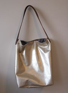 Pale Gold Leather Tote Bag  As Seen in InStyle by sidneyann, $125.00