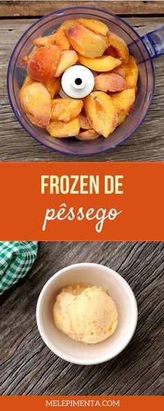Frozen de pessego - Uma receita fácil, saudável e deliciosa para você. Confira as dicas de preparo dessa opção que leva poucos ingredientes e que você pode preparar no café da manhã, para o lanche e para se refrescar nos dias quentes de verão.