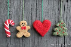 felted wool crafts These adorable needle felting Christmas ornaments are made using simple cookie cutters and roving. All of these designs have been handmade and needle felted. Felt Christmas Decorations, Felt Christmas Ornaments, Noel Christmas, Hallmark Christmas, Christmas Makes, Christmas Music, Outdoor Christmas, Holiday Decor, Festive Crafts