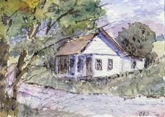 Original ACEO, Art Card, Scenic Landscape,Country Home, Impressionism, B. Jones #Miniature