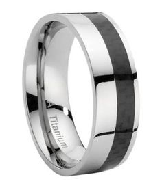 Titanium Ring With Offset Carbon Fiber Inlay, polished. 8mm.  95.00USD