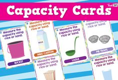 The Capacity Cards were designed to help students connect volume and capacity and support upper primary group work involving measurement of the capacity of a variety of common household containers. Classroom Games, Classroom Organization, Volume And Capacity, Group Work, Teacher Resources, Year 2, Teaching, Maths