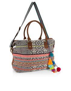 Woven Pom Pom Weekender Bag | Multi | Accessorize