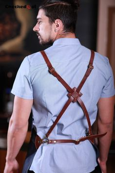Barista Denim Long Apron with Cross-Back Leather by JBDenimAprons