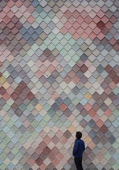 Yardhouse / Assemble facade : clad in decorative concrete tiles handmade on site