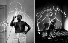 Albanian self-taught photographer Gjon Mili (1904-1984) arrived in USA in 1923.  He visited Pablo Picasso at Vallauris (France) and made this amazing stills for LIFE MAG. Trained as an engineer in the mid 1930's Gjon Mili, worked with Harold Eugene Edgerton from Massachusetts Institute of Technology (MIT), pioneered photoflash photography, using stroboscopic light to capture motion in a single exposure.