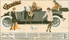 "Coles Phillips - Willys Overland Automobile double-page ad (July 18, 1914) ""Summer Days..."""