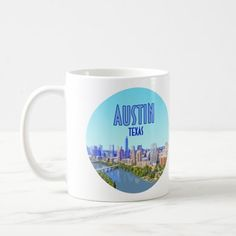 Austin Downtown, Vintage Coffee Cups, Photo Mugs, Coffee Mugs, Art Pieces, Texas, Ceramics, Make It Yourself, Store