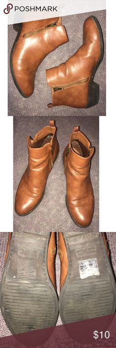 Brown Booties Forever 21 short brown booties- no heel- some wear- size 10 Forever 21 Shoes Ankle Boots & Booties