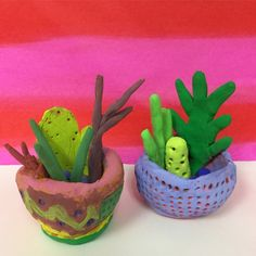 Mrs. Knight's Smartest Artists: Clay cacti and pinch pots, 4th grade