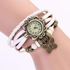 Koshi 2014 Vintage Bow Reloj de pulsera de cadena de cuero de las mujeres (blanco) – CLP $ 1.813