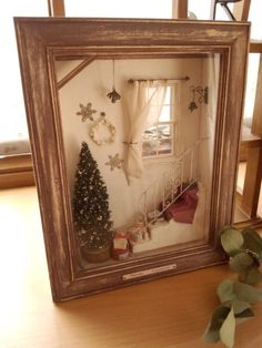 Christmas Gift Box Ideas - Very Pretty Miniature Christmas Morning Themed Room Box In Scale. Christmas Shadow Boxes, Christmas Gift Box, Noel Christmas, Christmas Morning, Vintage Christmas, Christmas Ornaments, Christmas Room, Christmas Scenes, Miniature Rooms