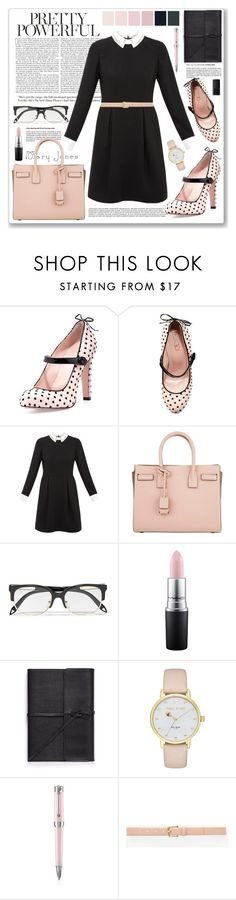 """pretty powerful"" by yumadh ❤ liked on Polyvore featuring RED Valentino, Ted Baker, Yves Saint Laurent, Victoria Beckham, MAC Cosmetics, Bynd Artisan, Kate Spade, Montegrappa, Ann Taylor and NARS Cosmetics"