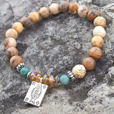 Protection, Truth and Virtue Stretch Meditation Bracelet - Fish Charm with Picture Jasper, African Jade and Glass Topaz by Angelof2 on Etsy, $25.00