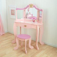 KidKraft Wooden Princess Vanity & Stool Set with Mirror, Children's Furniture - Pink Image 3 of 4 Kids Bedroom Sets, Kids Bedroom Furniture, Furniture Decor, Kids Room, Children Furniture, Furniture Design, Kids Dressing Table, Bedroom Vanity Set, Princess Bedrooms